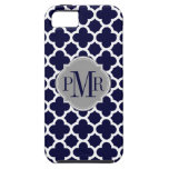 Quatrefoil Navy Blue White Pattern Gray Monogram iPhone SE/5/5s Case