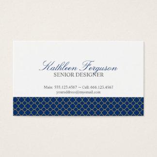 Quatrefoil navy blue yellow clover modern pattern business card