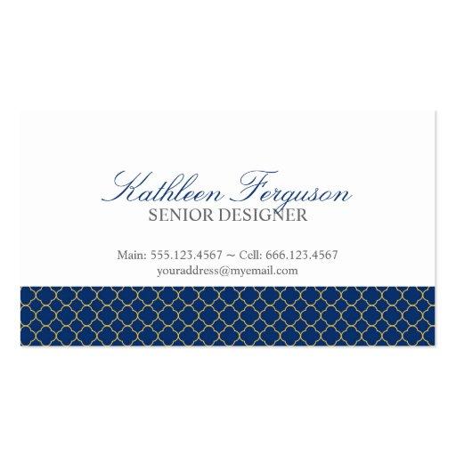 Quatrefoil navy blue yellow clover modern pattern business cards