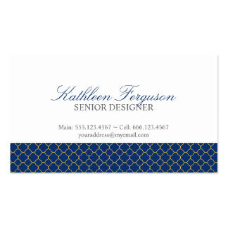 Quatrefoil navy blue yellow clover modern pattern Double-Sided standard business cards (Pack of 100)
