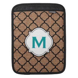 Quatrefoil negro en la arpillera rústica - monogra mangas de iPad