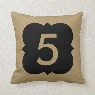 Quatrefoil: Number 5 Throw Pillow