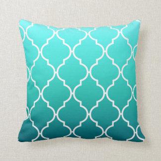 Quatrefoil Ombre Geometric   aqua pool Throw Pillow