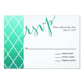Quatrefoil Ombre Geometric RSVP Response | mint Card