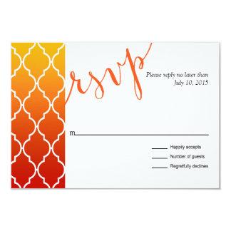 Quatrefoil Ombre Geometric RSVP Response | sunset 3.5x5 Paper Invitation Card