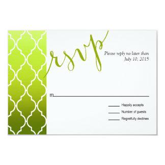 Quatrefoil Ombre Geometric RSVP | spring green 3.5x5 Paper Invitation Card