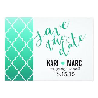 Quatrefoil Ombre Geometric Save the Date | mint Card