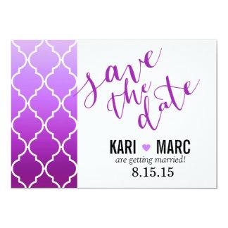 Quatrefoil Ombre Geometric Save the Date | purple Card