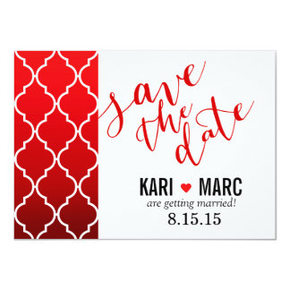 Quatrefoil Ombre Geometric Save the Date | red Card