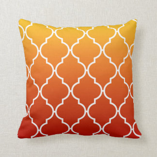 Quatrefoil Ombre Geometric sunset orange Throw Pillow