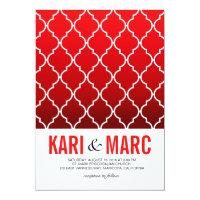 Quatrefoil Ombre Geometric Wedding | red 5x7 Paper Invitation Card (<em>$2.38</em>)
