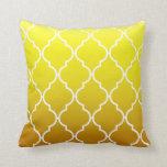 Quatrefoil Ombre Geometric | yellow Pillow