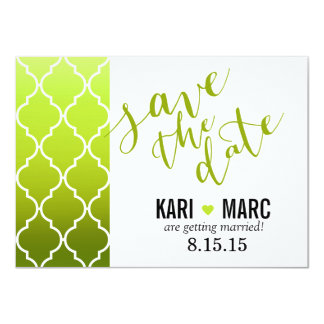 Quatrefoil Ombre Save the Date | spring green 4.5x6.25 Paper Invitation Card