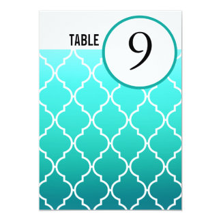 Quatrefoil Ombre Table Numbers | aqua pool Card