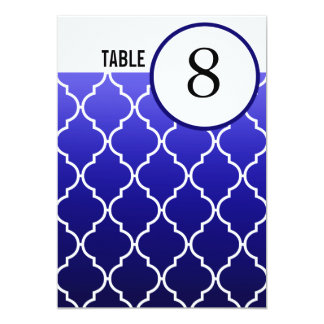 Quatrefoil Ombre Table Numbers | navy 5x7 Paper Invitation Card