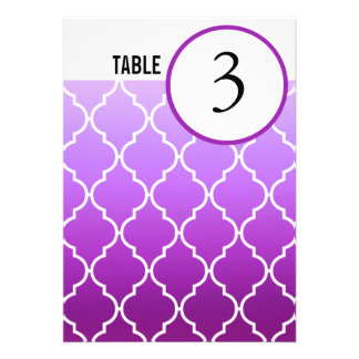 Quatrefoil Ombre Table Numbers purple Custom Announcement