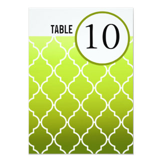 Quatrefoil Ombre Table Numbers | spring green 5x7 Paper Invitation Card