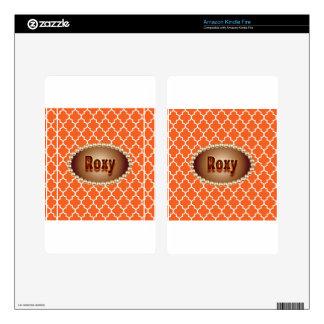 Quatrefoil-Orange Monogramed Gifts Kindle Fire Skins