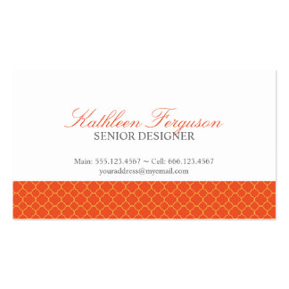 Quatrefoil orange yellow clover modern pattern Double-Sided standard business cards (Pack of 100)