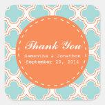 Quatrefoil Pattern Aqua & Orange Wedding Thank You Square Sticker
