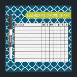 "Quatrefoil Pattern Chore Chart Custom Name Dry-Erase Board<br><div class=""desc"">A popular design with geometric patterns and an area to add your children&#39;s names. Trendy colors and popular patterns make this a modern and fun chore chart for kids. If you need to adjust the text,  click on the customize button and make changes.</div>"
