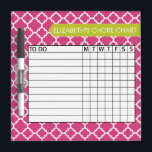 """Quatrefoil Pattern Chore Chart Custom Name Dry-Erase Board<br><div class=""""desc"""">A popular design with geometric patterns and an area to add your children&#39;s names. Trendy colors and popular patterns make this a modern and fun chore chart for kids. If you need to adjust the text,  click on the customize button and make changes.</div>"""
