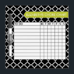 "Quatrefoil Pattern Chore Chart Custom Name Dry Erase Board<br><div class=""desc"">A popular design with geometric patterns and an area to add your children&#39;s names. Trendy colors and popular patterns make this a modern and fun chore chart for kids. If you need to adjust the text,  click on the customize button and make changes.</div>"
