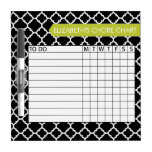 Quatrefoil Pattern Chore Chart Custom Name Dry Erase Board<br><div class='desc'>A popular design with geometric patterns and an area to add your children&#39;s names. Trendy colors and popular patterns make this a modern and fun chore chart for kids. If you need to adjust the text,  click on the customize button and make changes.</div>
