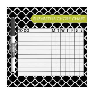 Quatrefoil Pattern Chore Chart Custom Name Dry Erase Board