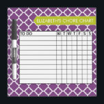 """Quatrefoil Pattern Chore Chart Custom Name Dry Erase Board<br><div class=""""desc"""">A popular design with geometric patterns and an area to add your children&#39;s names. Trendy colors and popular patterns make this a modern and fun chore chart for kids. If you need to adjust the text,  click on the customize button and make changes.</div>"""