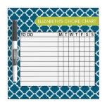 Quatrefoil Pattern Chore Chart Custom Name Dry Erase Boards