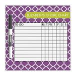 Quatrefoil Pattern Chore Chart Custom Name Dry-Erase Boards