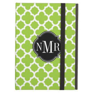 Quatrefoil Pattern Green and White Monogram iPad Folio Cases