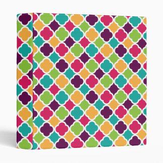 Quatrefoil Pattern Green Pink Purple Orange Teal 3 Ring Binder
