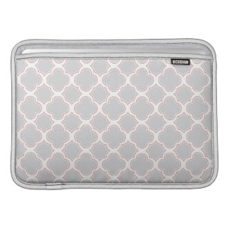 Quatrefoil Pattern Grey and Blush Sleeve For MacBook Air