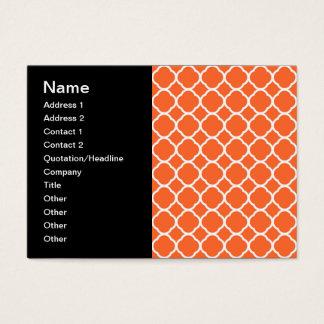 Quatrefoil Pattern in Mandarin Orange and White Business Card