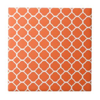 Quatrefoil Pattern in Mandarin Orange and White Ceramic Tile