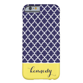 Quatrefoil Pattern Monogram Name | Navy Blue Lemon Barely There iPhone 6 Case