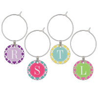 Quatrefoil Pattern Monogram Wine Charm Set