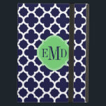 "Quatrefoil Pattern Navy Blue and White Monogram iPad Air Cover<br><div class=""desc"">&#169; 2012 Socialite Designs. Our navy blue and white quatrefoil pattern iPad case provides a fun splash of color as well as protecting your iPad. Our elegant banner is a perfect place to add your monogram,  name or initials.</div>"