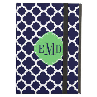 Quatrefoil Pattern Navy Blue And White Monogram Ipad Air Cover at Zazzle