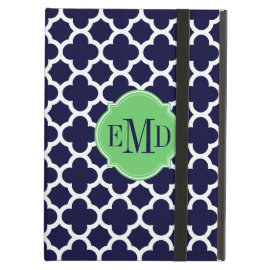 Quatrefoil Pattern Navy Blue and White Monogram iPad Folio Cases