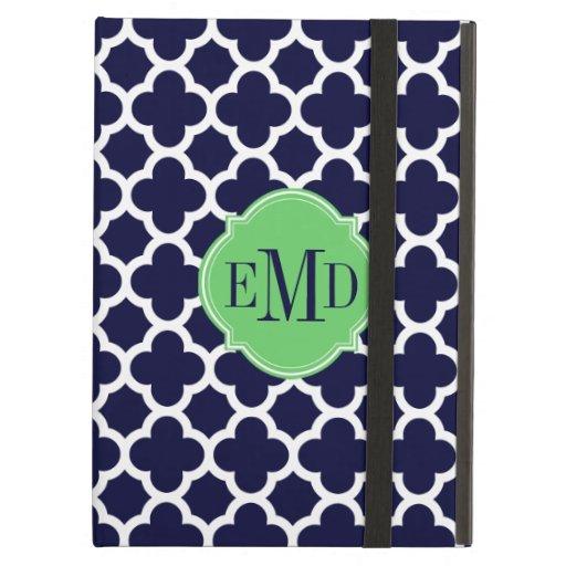Quatrefoil Pattern Navy Blue and White Monogram iPad Folio Cases