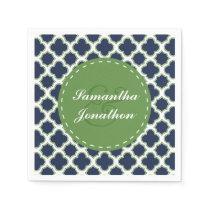 Quatrefoil Pattern Navy & Green Custom Wedding Paper Napkin