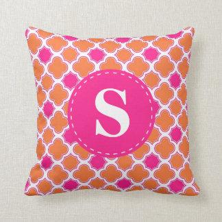 Quatrefoil Pattern Orange & Hot Pink with Monogram Throw Pillow