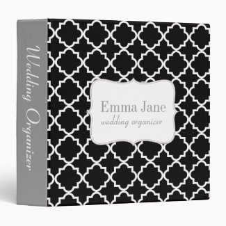 Quatrefoil pattern personalized binder, black 3 ring binder