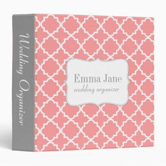 Quatrefoil pattern personalized binder, pink binder