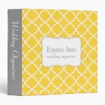 Quatrefoil pattern personalized binder, yellow
