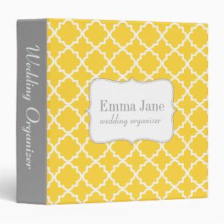 Quatrefoil pattern personalized binder, yellow binder
