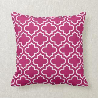 Quatrefoil Pattern Pillow in Madder Carmine
